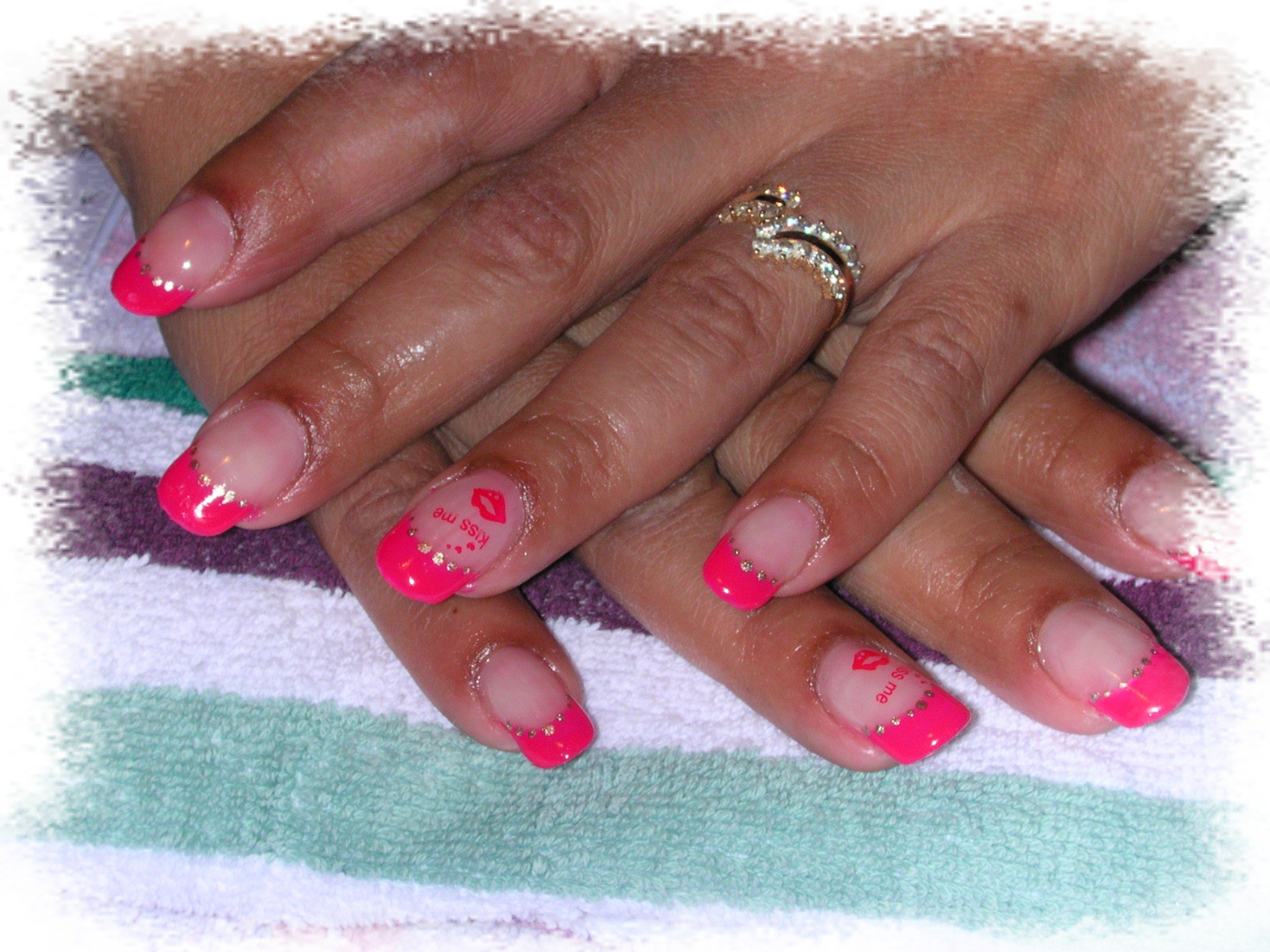deco ongles gel rose